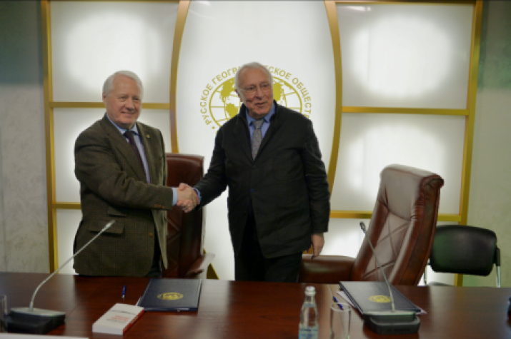 The First Vice-President of the Russian Geographical Society, Academician Nikolay Kasimov and the Life Member of the French Geographical Society Jean-Louis Gouraud. Photo: RGS Press Service