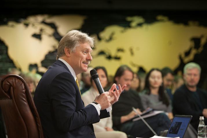 Председатель Медиа-совета РГО Дмитрий Песков. Фото: Алексей Михайлов