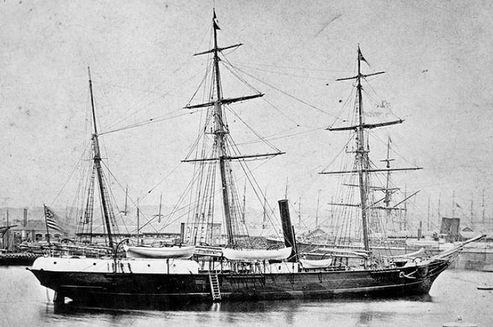 """""""Жаннетта"""" порту Гавр, Франция, 1878 год. Фото: U.S. Naval Historical Center Photograph, с сайта wikipedia.org"""