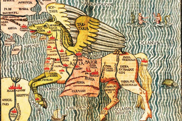 """""""Азия вторая в форме Пегаса. Север"""" Генрих Бюнтинг. Ганновер, около 1581 г. Изображение из книги """"Страна Чудес. Россия на старинных картах XII – XIX веков"""""""