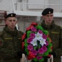The wreath in the honor of the victory of Russian sailors in the Hogland battle in the year of 1788, and in the memory of the paratroopers who heroically dead next to the Meryukl village in 1944