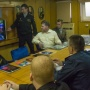 The Deputy Commander of the campaign for the work with the personnel, the Captain of the 1st Rank S.Polyakov gets the participants of the campaign acquainted with the work of electronic information science and educational center «The Russian Navy»