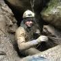 Кирилл Симанов. Прохождение привходовой части пещеры (Фото - К. Гасица)