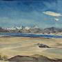 Памир. Панорама озера Кара-Куль. 1934. Рисунок Евгения Абалакова. С сайта artpoisk.info