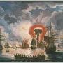 """На картине изображён взрыв турецкого корабля. """"Эпизод морского боя"""" Художник: Якоб Филипп Гекарт"""