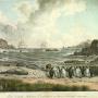 Вид острова Маквари с перешейка с северо-восточной стороны. Акварель из альбома Павла Михайлова. Около 1821 г.